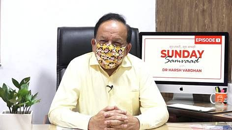 Union Health and Family Welfare Minister Harsh Vardhan participating in  an interaction with his social media followers on the Sunday Samvad platform, in New Delhi on September 13, 2020