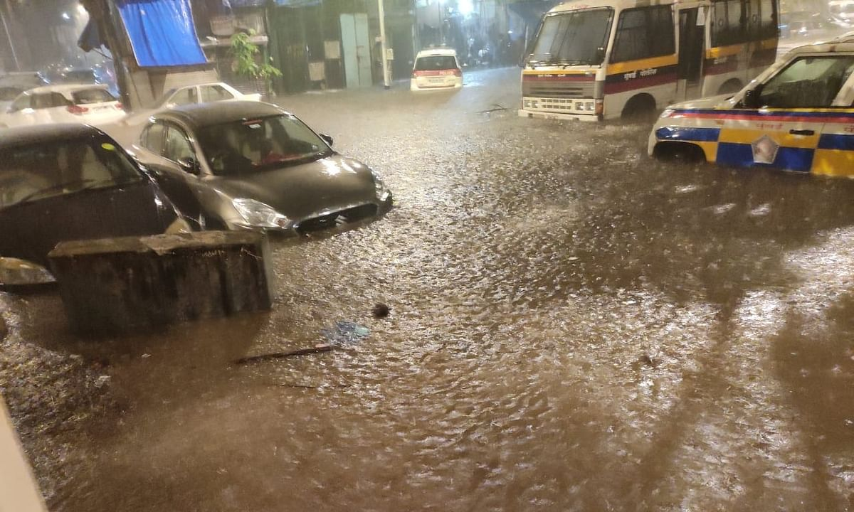 A view of a road in Mumbai, which  has been hit by torrential rains since Tuesday evening, on September 23, 2020.