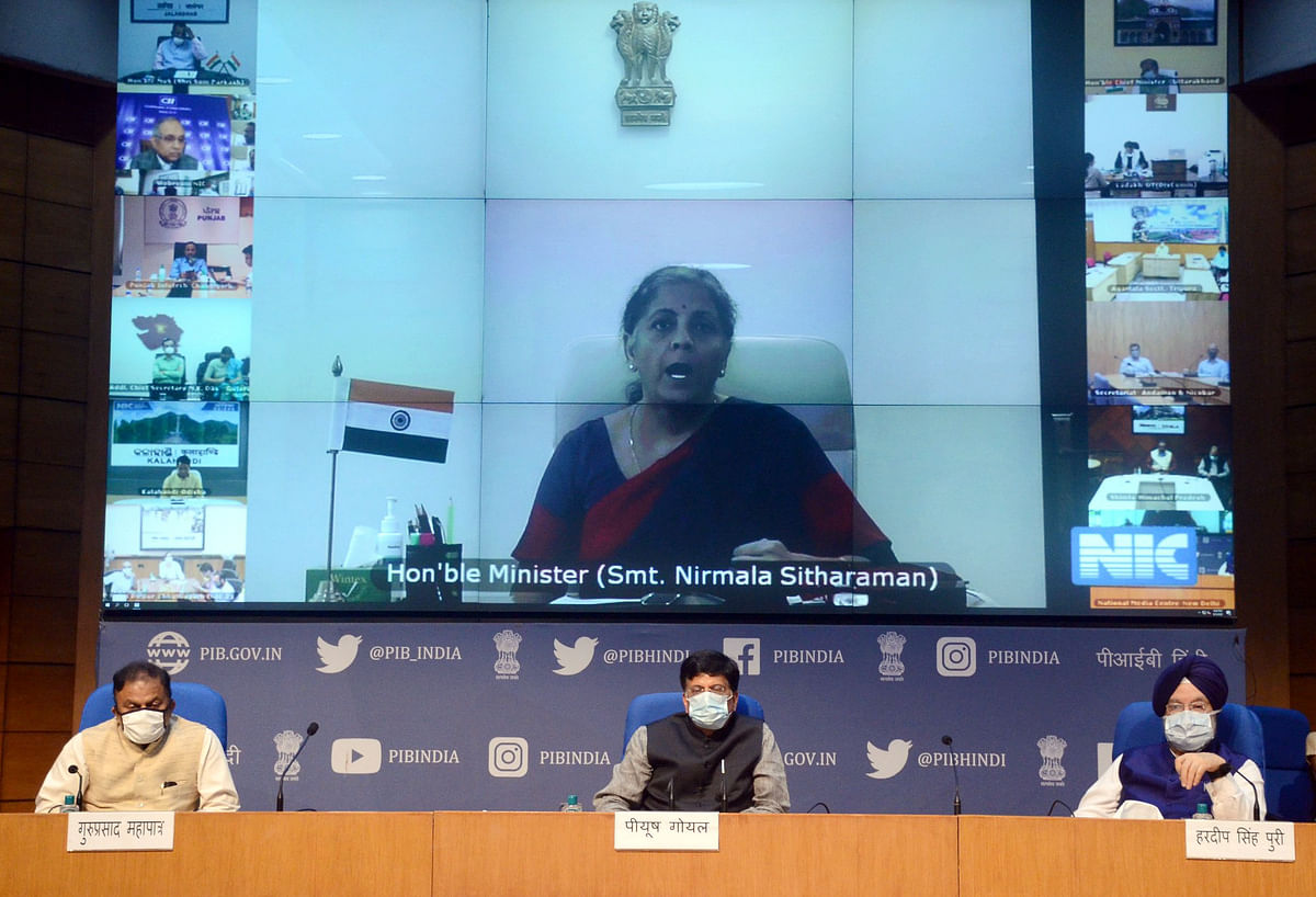 Union Finance Minister Nirmala Sitharaman virtually addressing after releasing the ranking of States with reference to State Business Reforms Implementation, in New Delhi on September 5, 2020. Minister for Railways and Commerce & Industry Piyush Goyal and Minister for for Housing & Urban Affairs and Civil Aviation Hardeep Singh Puri are also seen.