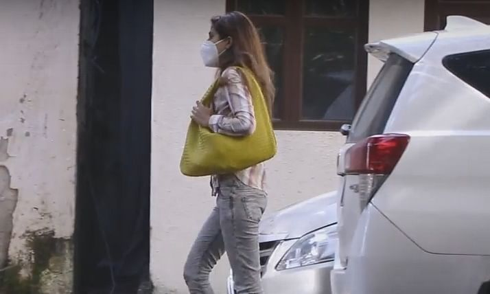 Fashion designer Simone Khambatta arriving for questining by  the NCB at its office in Mumbai, on September 24, 2020.