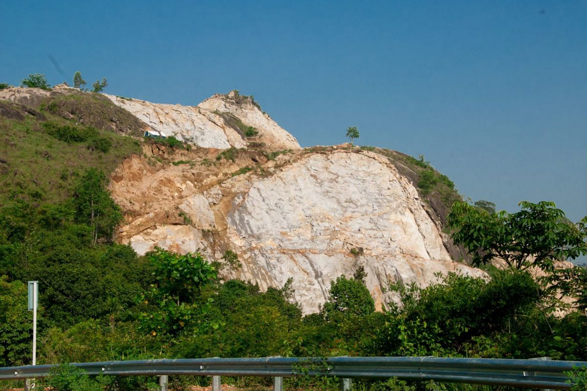 A view of the Ambukuthi hills which houses the world-famous Edakkal caves. Quarrying continues in the hills.