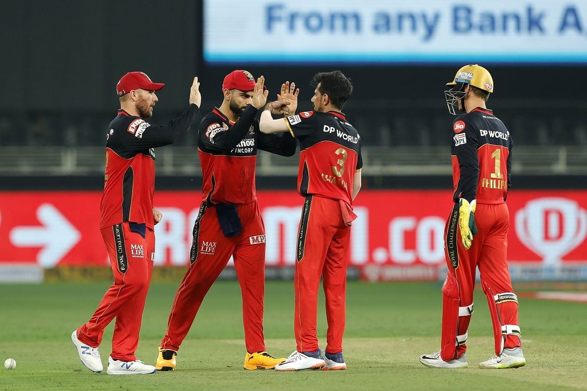 Yujvendra Chahal of Royal Challengers Bangalore celebrating the fall of the wicket of Manish Pandey of Sunrisers Hyderabad in their match in the Indian Premier League in Dubai, on September 21, 2020.