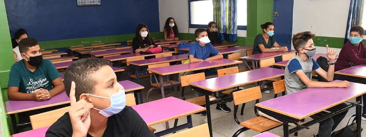 Students wearing masks attending a class in a school in Rabat, Morocco, on September 8, 2020.