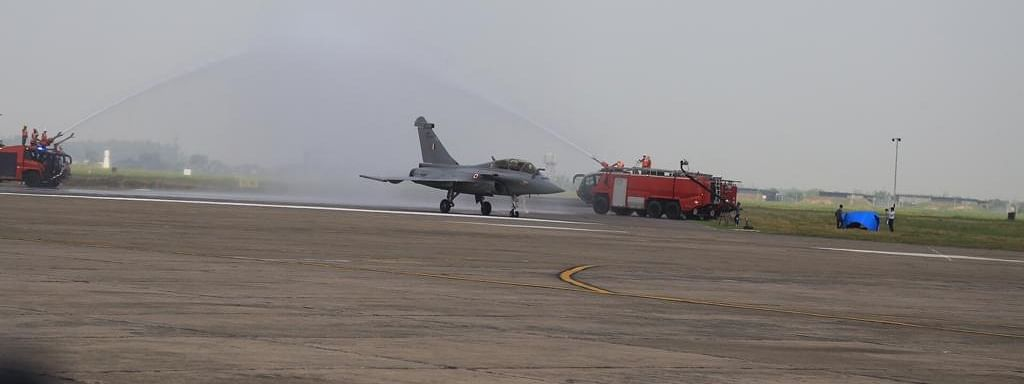 A traditional water cannon salute being accorded to a Rafale aircraft, one of the five which were inducted into the Indian Air Force (IAF), at the Ambala Air Force Station, on September 10, 2020.