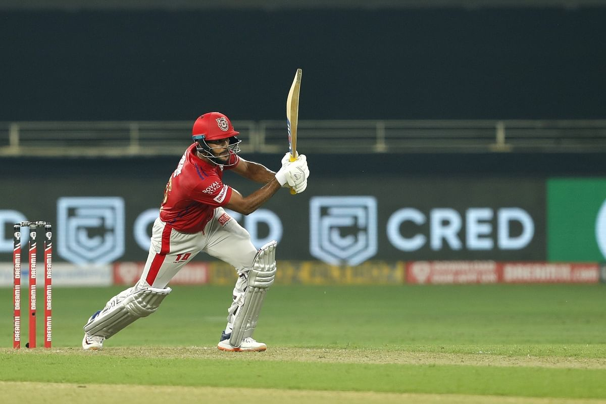 Mayank Agarwal of KIngs XI Punjab in action against Delhi Capitals in the second match of the Indian Premier League in Dubai on September 20, 2020.