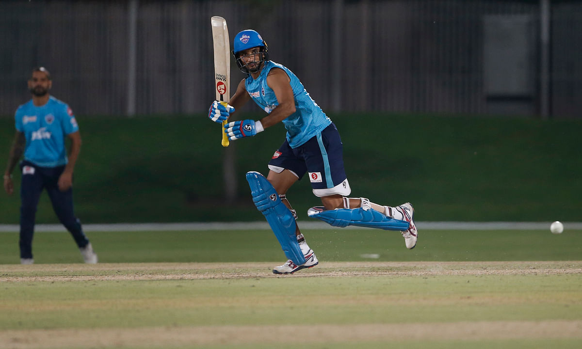 Harshal Patel during a nets session in Dubai, on September 14, 2020.