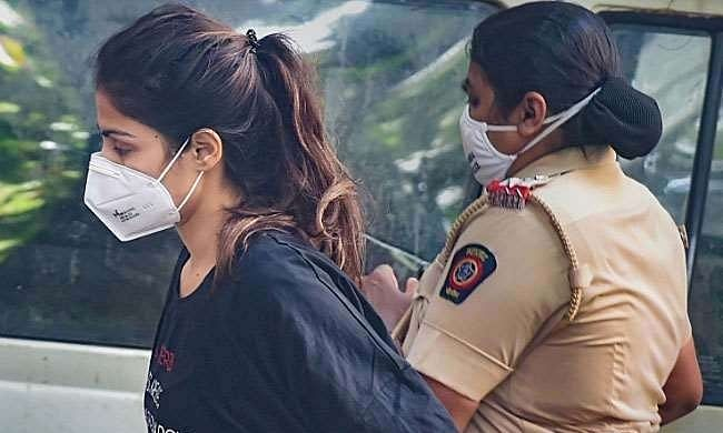 Bollywood actress Rhea Chakraborty being taken for a medical examination after being arrested by the NCB, which is investigating the drugs angle in the Sushant Singh Rajput death case, on September 8, 2020.