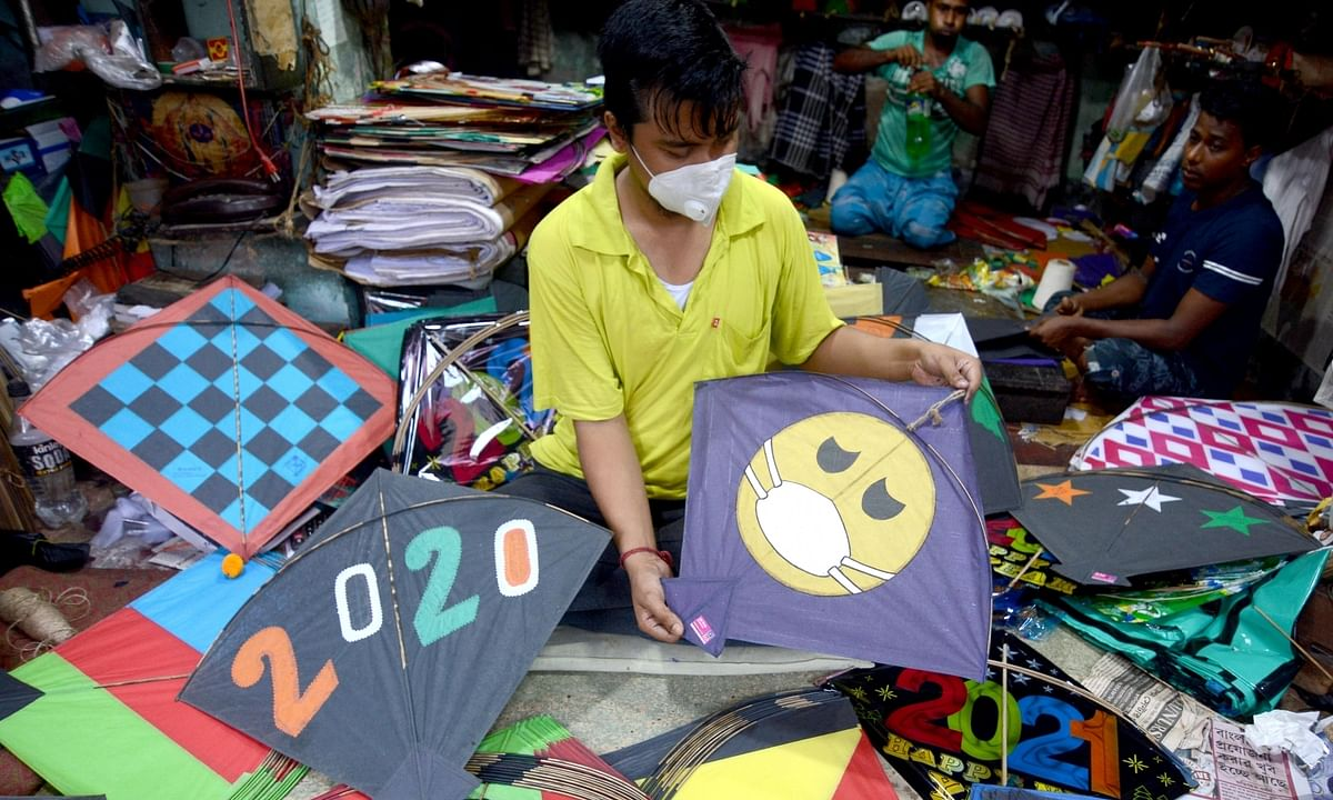 Coronavirus-themed kites on sale at a kite shop amid the COVID-19 pandemic, in Kolkata on September 8, 2020.