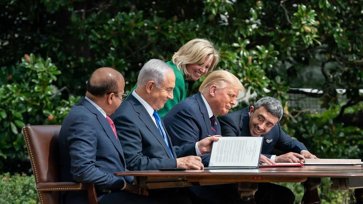 Bahrain Foreign Minister Abdullatif bin Rashid Al-Zayan, from left, Israel Prime Minister Benjamin Netanyahu, United States President Donald Trump and United Arab Emirates Foreign Minister Abdullah bin Zayed Al Nahyan at the signing of the pacts to establish diplomatic relations by the two Arab countries with the Jewish nation, at the White House in Washington on Tuesday, September 15, 2020.