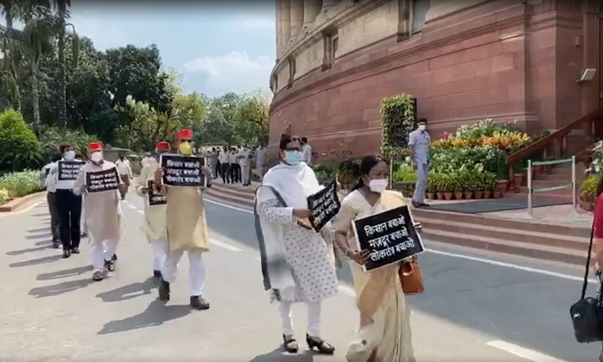 Opposition Members of Parliament  protesting in the Parliament House Complex against the farm Bills, in  New Delhi on September 23, 2020.