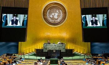 Pakistan Prime Minister Imran Khan addressing the  United Nations General Assembly through video-conference, on September 25, 2020.