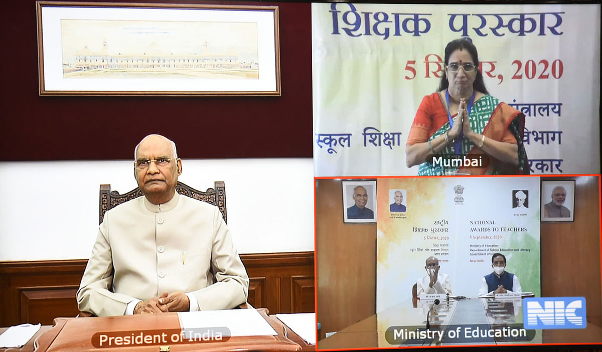 President Ram Nath Kovind virtually presenting the National Award to teachers, on the occasion of Teachers' Day, in New Delhi on September 5, 2020.