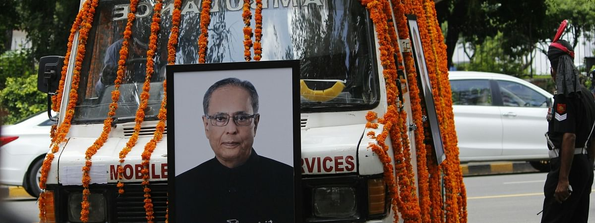 An ambulance leaving for the Lodhi Road Crematorium with the mortal remains of former President Pranab Mukherjee from his 10 Rajaji Marg residence in New Delhi on September 1, 2020.