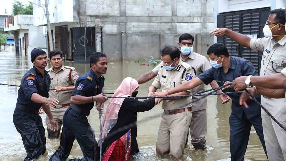 Rescue and evacuation operations underway in inundated Malkajgiri  area after heavy rains left Hyderabad flooded, on October 15, 2020.