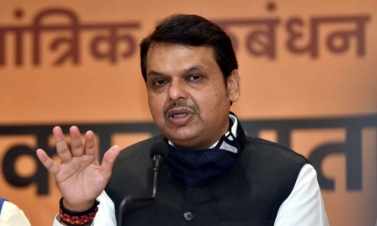BJP leader Devendra Fadnavis addressing a press conference of NDA parties in Patna, Bihar, on October 16, 2020.