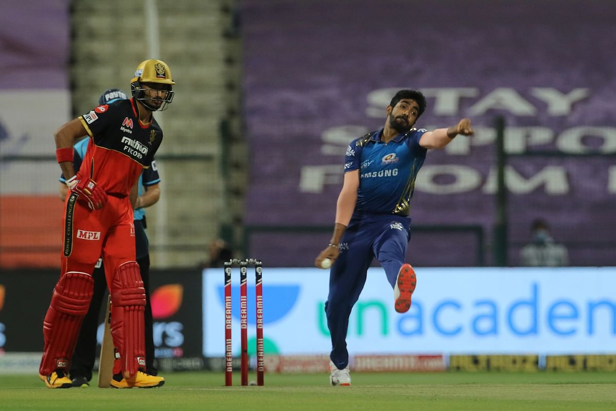 Jasprit Bumrah of Mumbai Indians bowling during their match against Royal Challengers Bangalore in the Indian Premier League (IPL) in Abu Dhabi on October 28, 2020.