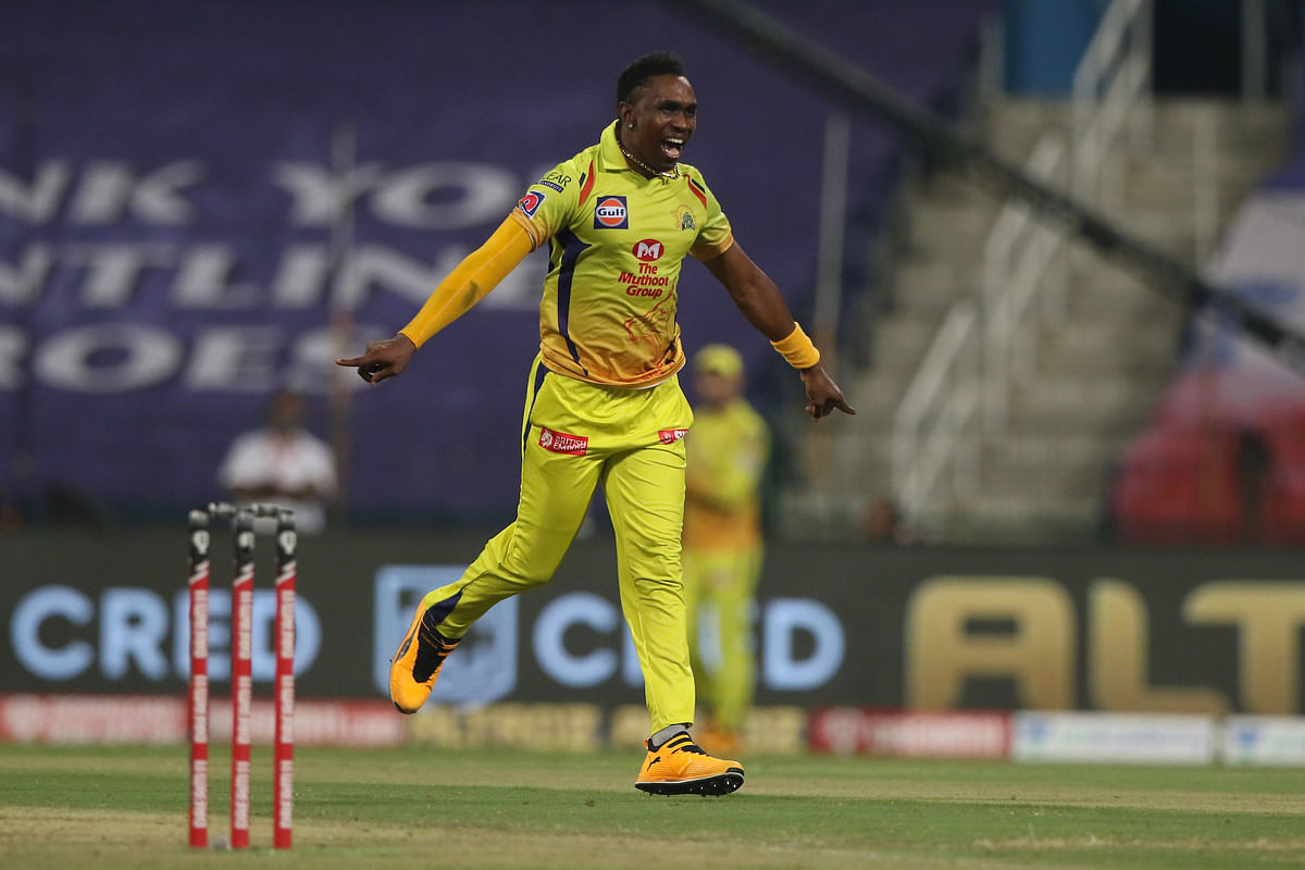 Dwayne Bravo of Chennai Super Kings celebrating the wicket of Shivam Mavi of Kolkata Knight Riders during match 21 of season 13 of the Dream 11 Indian Premier League (IPL) between the two teams at the Sheikh Zayed Stadium, Abu Dhabi in the United Arab Emirates on October 7, 2020.
