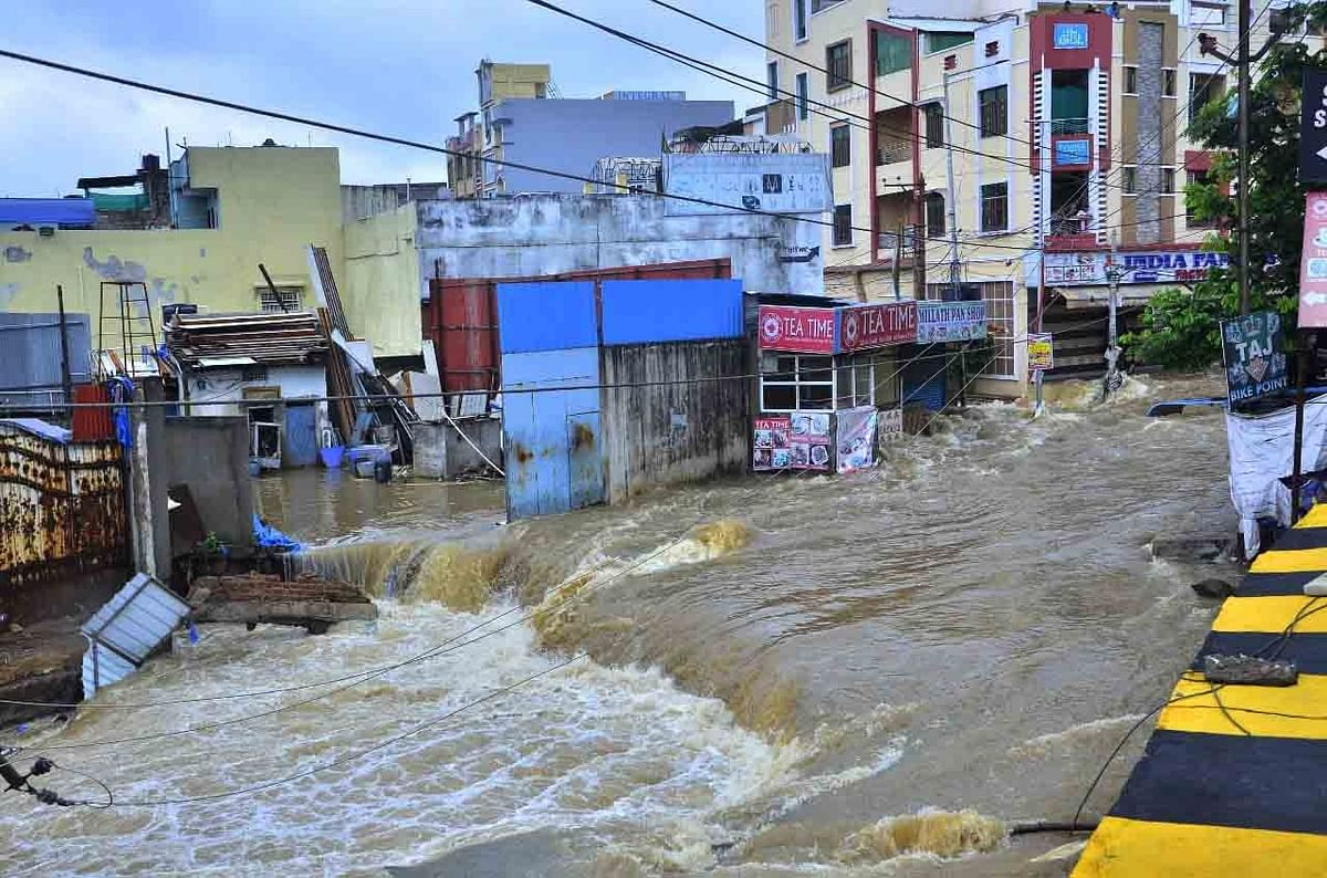 A view of a flooded street in Hyderabad, on October 14, 2020.