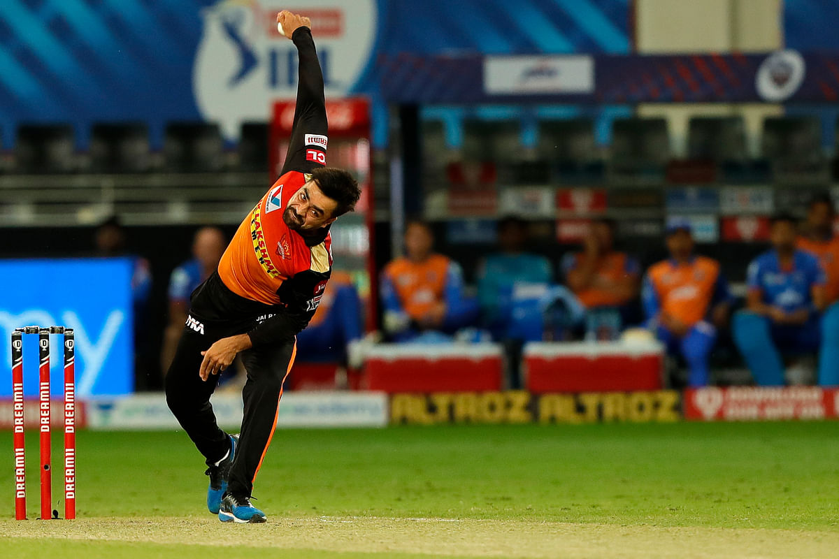 Rashid Khan of Sunrisers Hyderabad in action during their match against Delhi Capitals in the Indian Premier League (IPL) in Dubai on October 27, 2020.