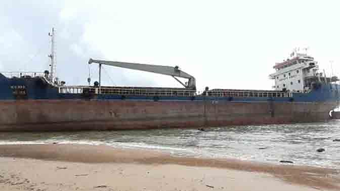 Bangladeshi cargo ship runs aground on Vizag beach