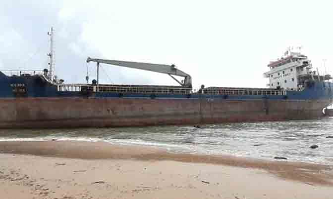 A 3,000-tonne Bangladeshi cargo vessel MV Maa which drifted from the anchorage point and ran aground near Tenneti Park in Visakhapatnam on October 13, 2020.