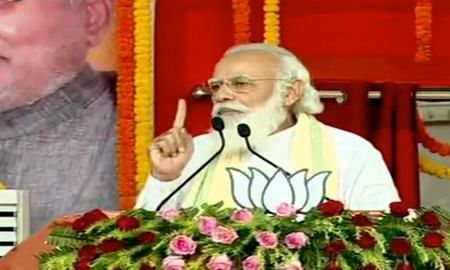 File photo of Prime Minister Narendra Modi addressing a public meeting ahead of the Bihar Assembly elections, in Gaya on October 23, 2020.