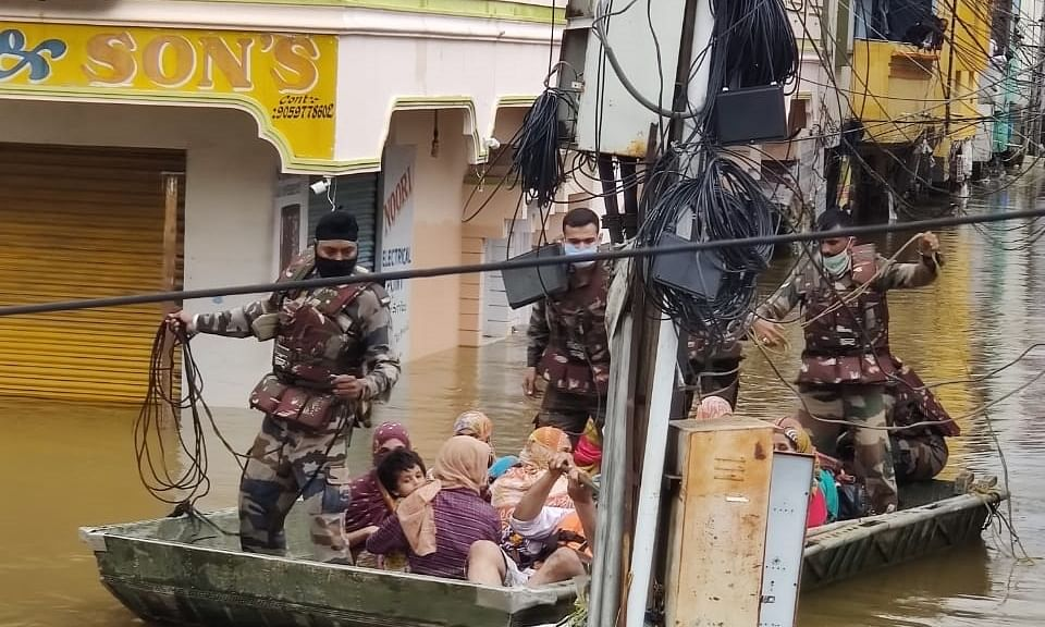 Army personnel and Disaster Response Force (DRF) personnel carrying  out rescue and relief operations after heavy rains left Hyderabad flooded, on October 14, 2020.