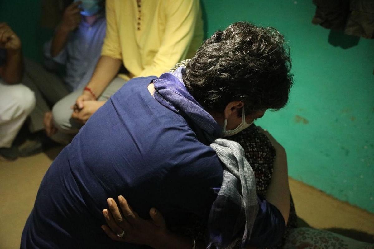 Congress leader Priyanka Gandhi Vadra hugging the mother of the gangrape victim in Hathras, Uttar Pradesh, on October 3, 2020.