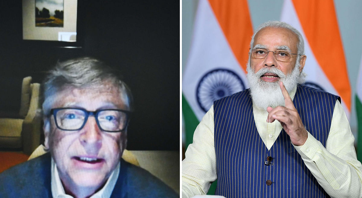Prime Minister Narendra Modi speaking at the Grand Challenges Annual Meeting 2020 via video conference in New Delhi, on October 19, 2020. Microsoft co-founder and philanthropist Bill Gates (left) was among those who participated in the meeting.
