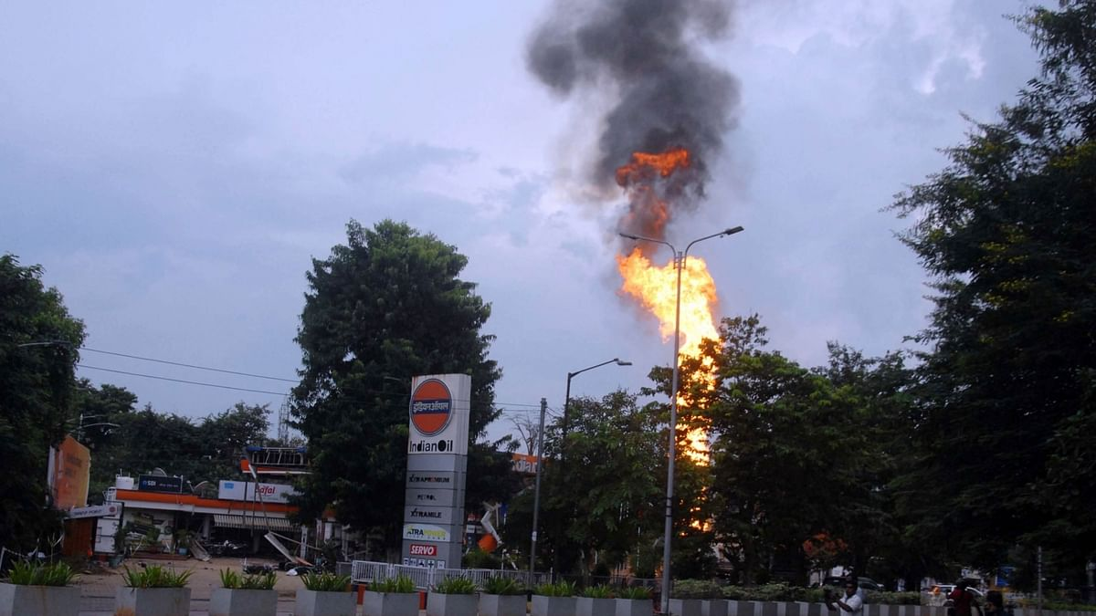 A view of explosion and fire at a petrol station in Bhubaneswar, Odisha on October 7, 2020.