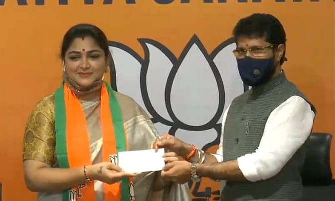 Former Congress spokesperson Khushboo Sundar joining the Bharatiya Janata Party in the presence of the party's National General Secretary C T Ravi in New Delhi, on October 12, 2020.