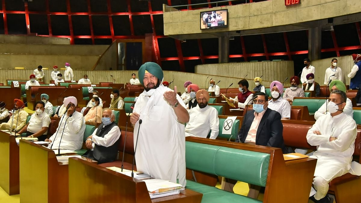 Punjab Chief Minister Amarinder Singh speaking in the State Legislative Assembly on October 20, 2020.