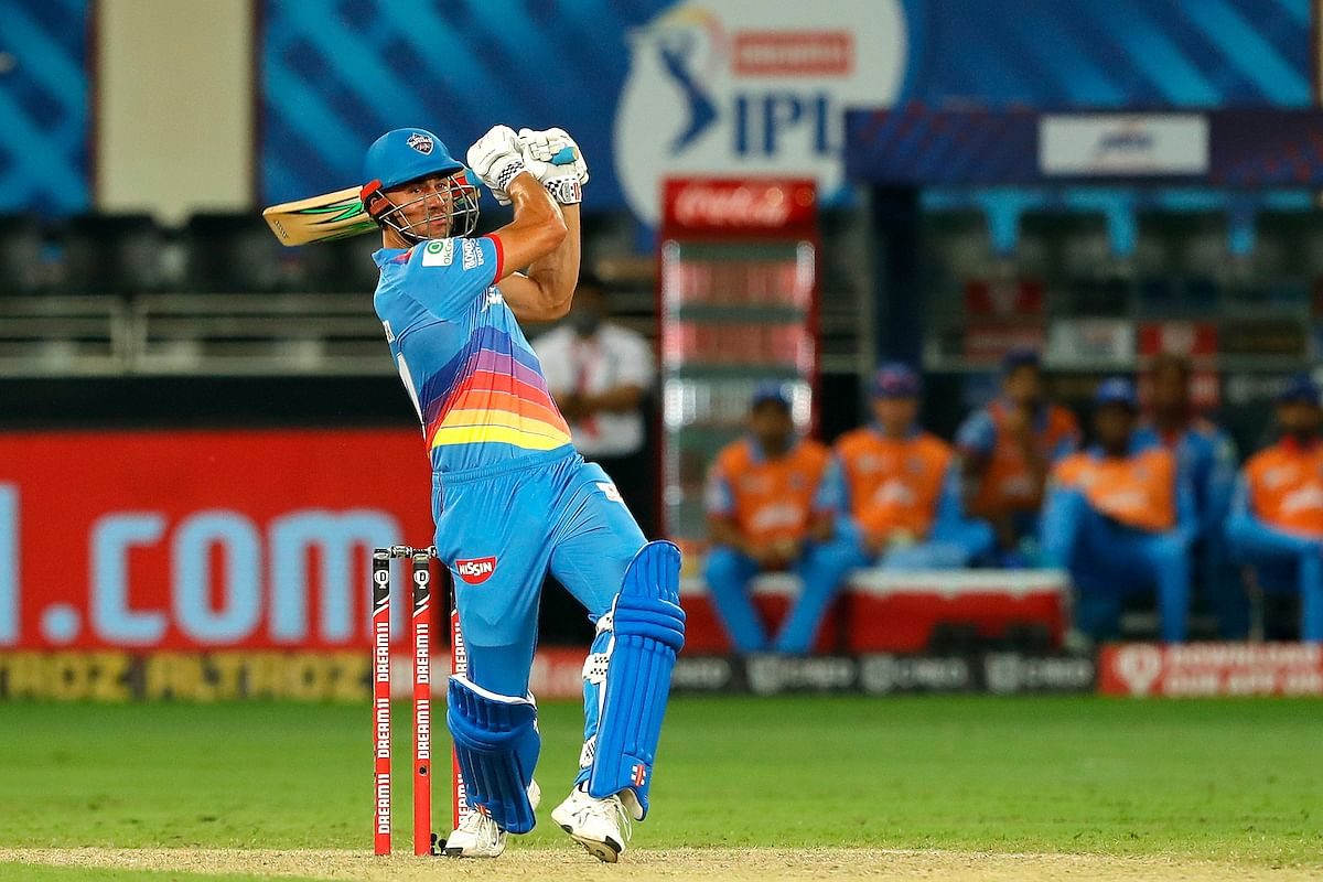 Marcus Stoinis of Delhi Capitals in action against Royal Challengers Bangalore during their match   in the Indian Premier League in Dubai on October 5, 2020.