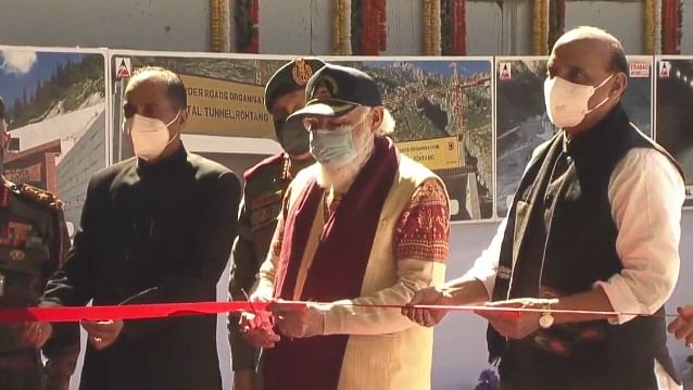 Prime Minister Narendra Modi accompanied by Defence Minister Rajnath Singh, Chief of Defence Staff Gen Bipin Rawat and Himachal Pradesh Chief Minister Jai Ram Thakur, inaugurates the strategic Atal Tunnel, the world's longest highway tunnel, in Manali on October 3, 2020.