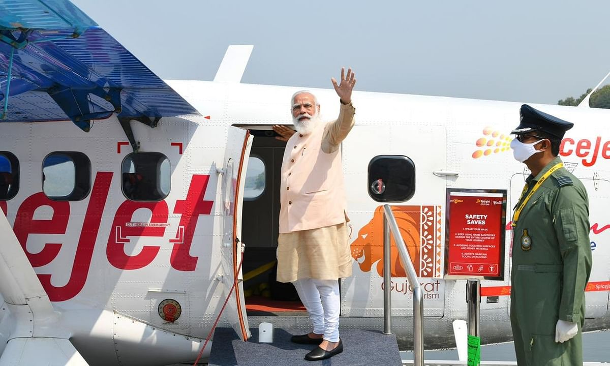 Prime Minister Narendra Modi inaugurating a sea plane service launched by SpiceJet between Kevadia, near the Sardar Sarovar Dam, and Sabarmati Riverfront, in Ahmedabad, Gujarat on October 31, 2020.