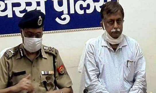 Uttar Pradesh Director General of Police Hitesh Chandra Awasthi and Additional Chief Secretary, Home, Avnish Awasthi, who met the family of the alleged gangrape victim in Hathras, on October 3, 2020.
