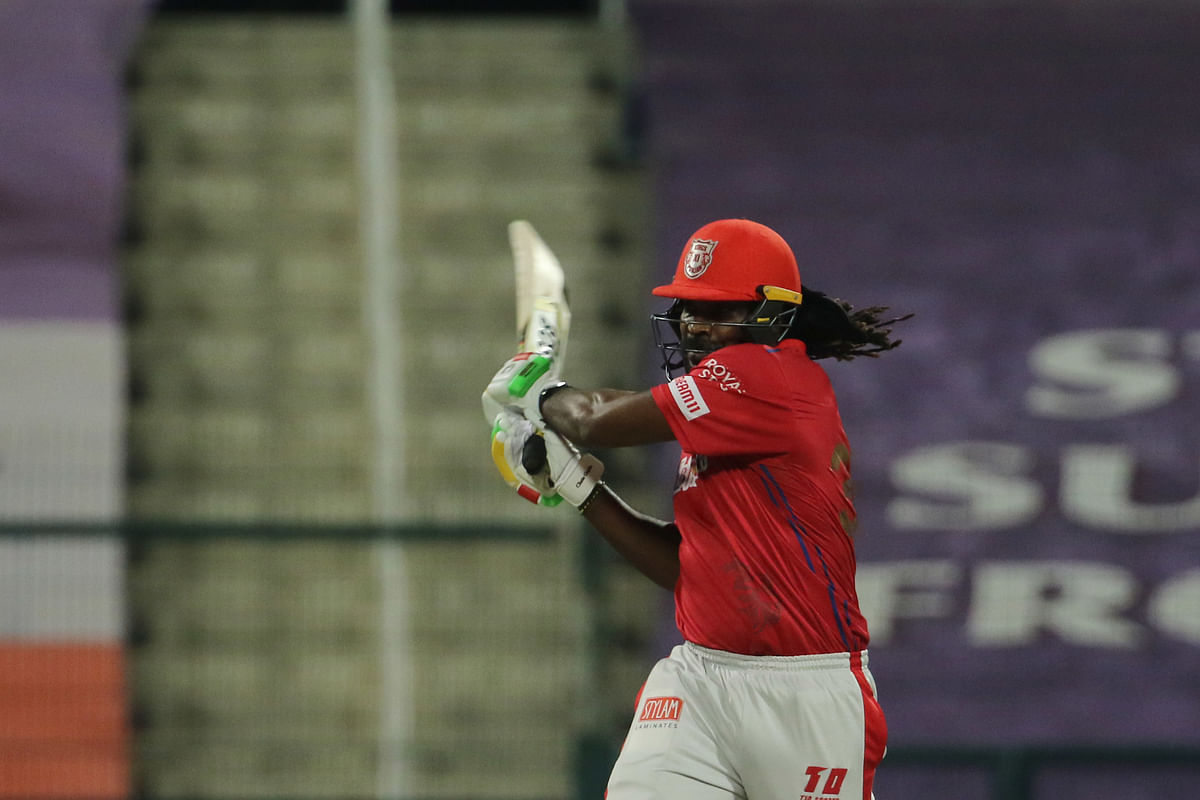Chris Gayle of Kings XI Punjab playing a shot during their match against Rajasthan Royals in  the Indian Premier League (IPL) in Abu Dhabi, on October 30, 2020.