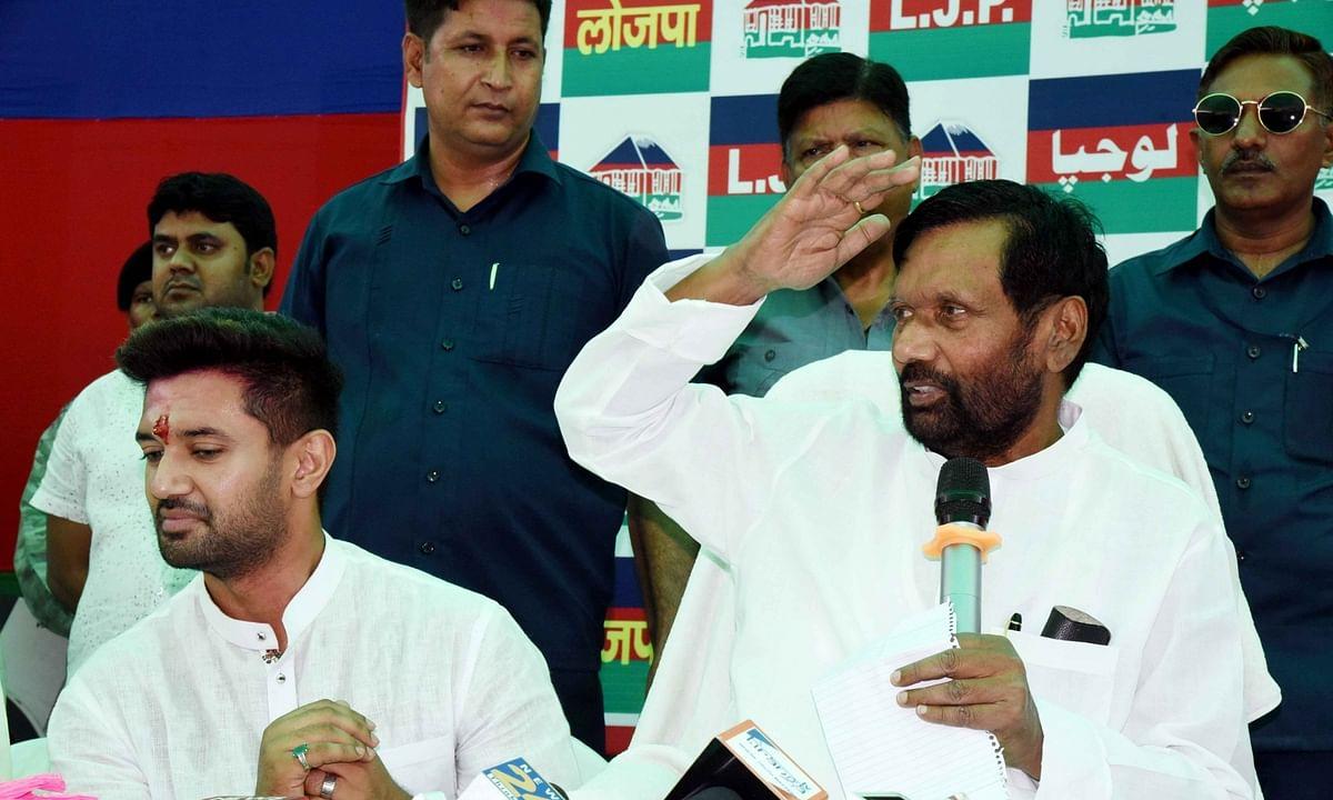 Union Minister Ram Vilas Paswan (right) and his son and Lok Janshakti Party (LJP) National President Chirag Paswan (left).