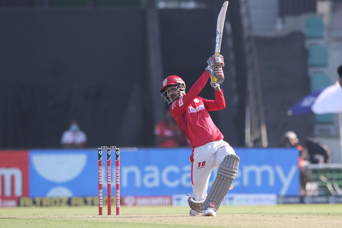 Deepak Hooda of Kings XI Punjab playing a shot during their match against Kings XI Punjab in the Indian Premier League (IPL) in Abu Dhabi, on November 1, 2020.