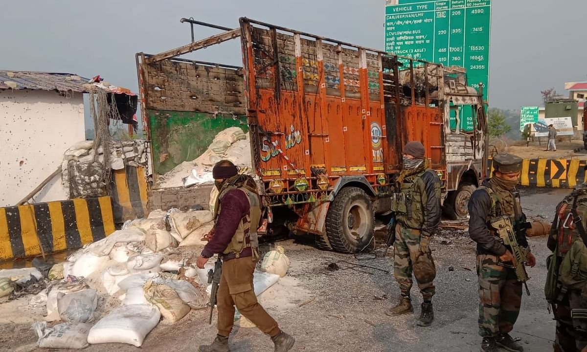 The truck that was intercepted by  the police near a toll plaza at Nagrota in Jammu district of Jammu & Kashmir, on suspicion that terrorists were hiding in it, on November 19, 2020.