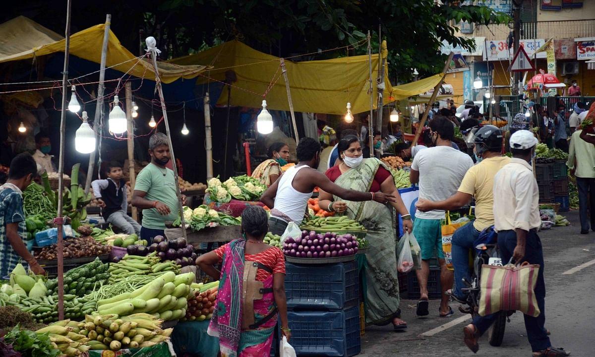 Vegetable stalls in a market in  Patna.