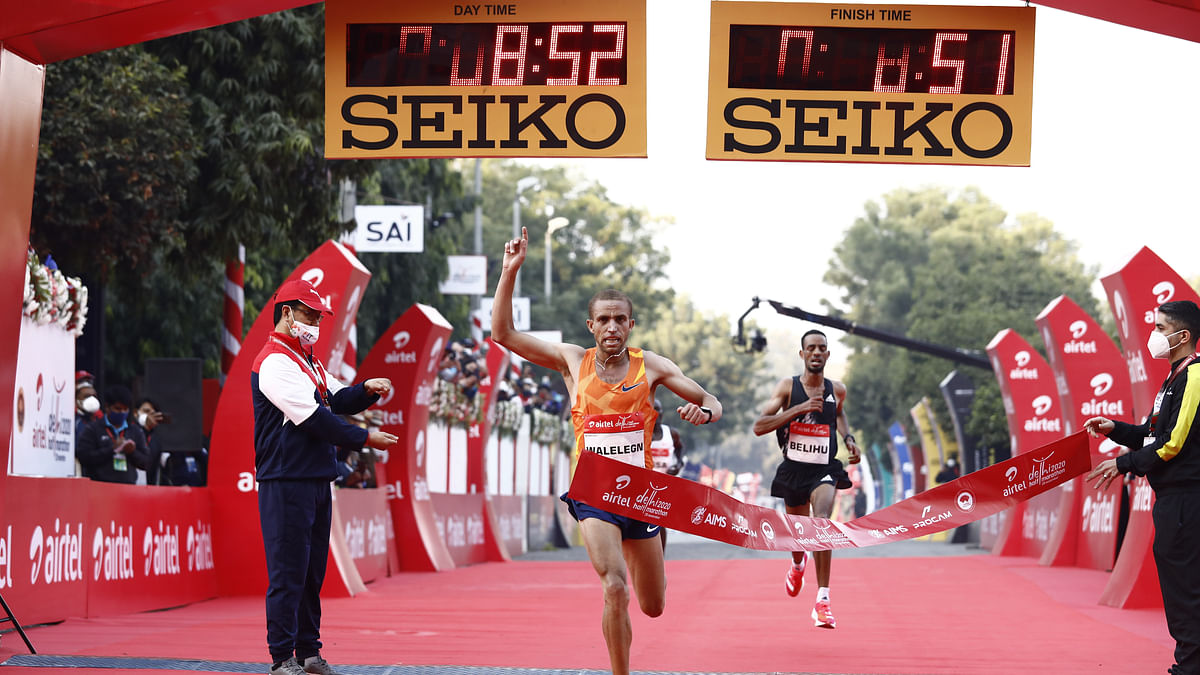 Yehualaw, Walelegn win as Ethiopians dominate Airtel Delhi Half Marathon