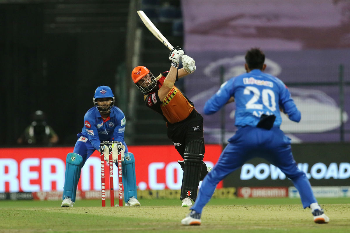 Kane Williamson of Sunrisers Hyderabad playing a shot during the qualifier 2 match of season 13 of the Dream 11 Indian Premier League (IPL) against Delhi Capitals in Abu Dhabi on November 8, 2020.
