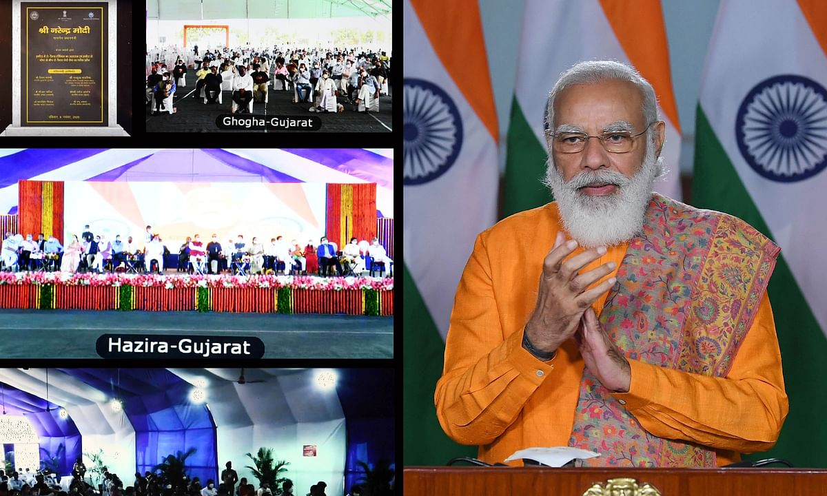 Prime Minister  Narendra Modi inaugurating the Ro-Pax terminal at Hazira and flagging off the Ro-Pax ferry service between Hazira and Ghogha in Gujarat, through video conferencing, in New Delhi on November 8, 2020.