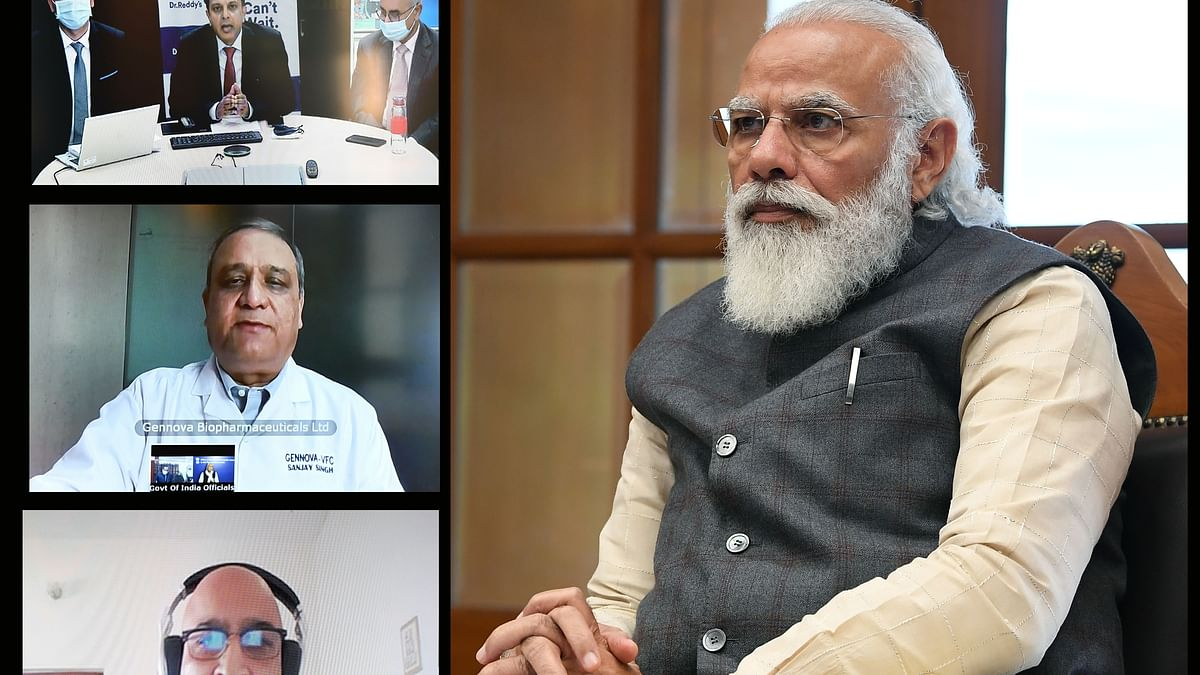 Modi interacts with three teams working on developing and  manufacturing COVID-19 vaccine