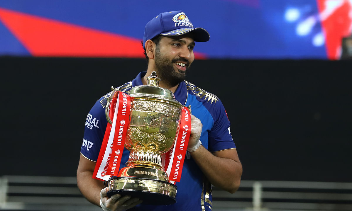 Mumbai Indians skipper Rohit Sharma with the winners' trophy after his team beat Delhi Capitals in the final of Season 13 of the  Dream 11 Indian Premier League (IPL) at the Dubai International Cricket Stadium, Dubai in the United Arab Emirates on November 10, 2020.