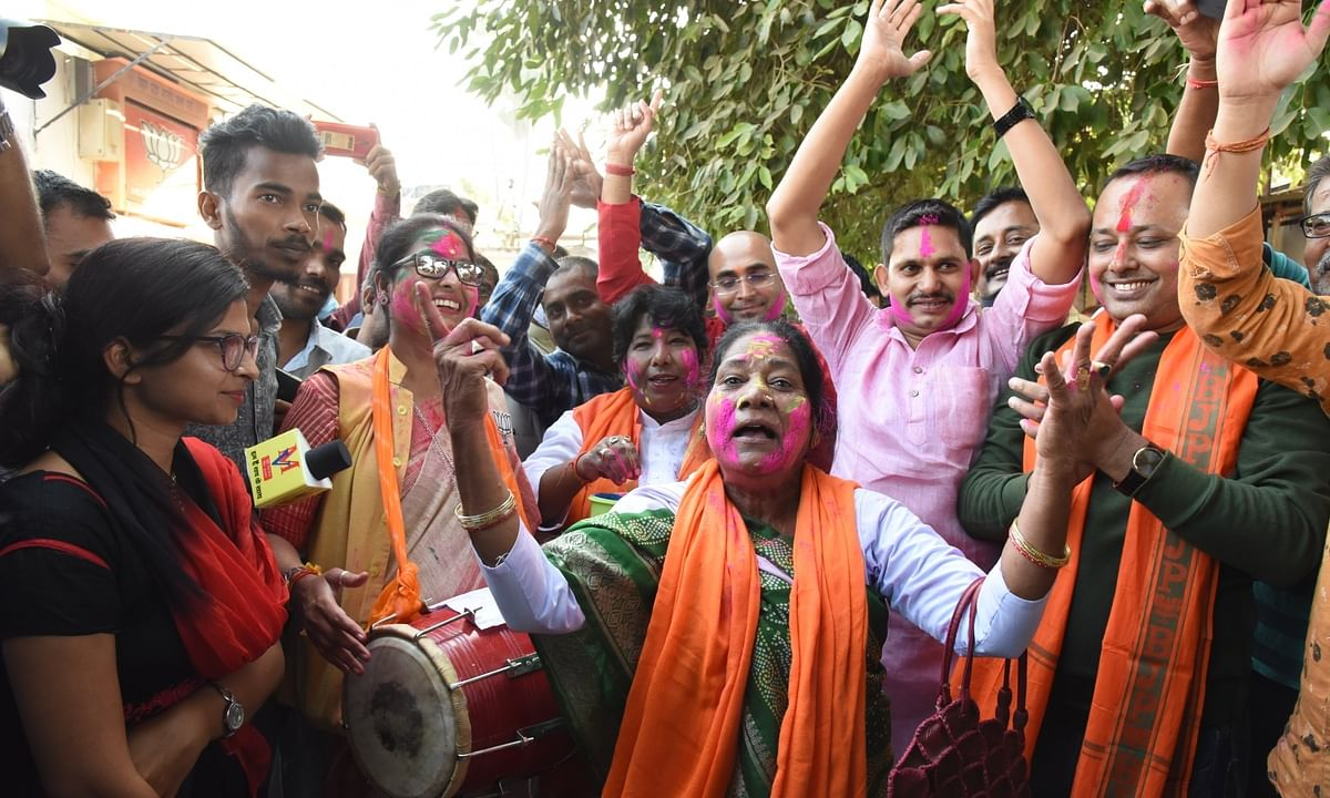 BJP workers celebrating their victory  after the numbers in the Bihar Assembly polls appeared to be in favour of the Bharatiya Janata Party and the National Democratic Alliance (NDA), as the counting of votes in the elections to the 243-member House, progressed, in Patna, on November 10, 2020.