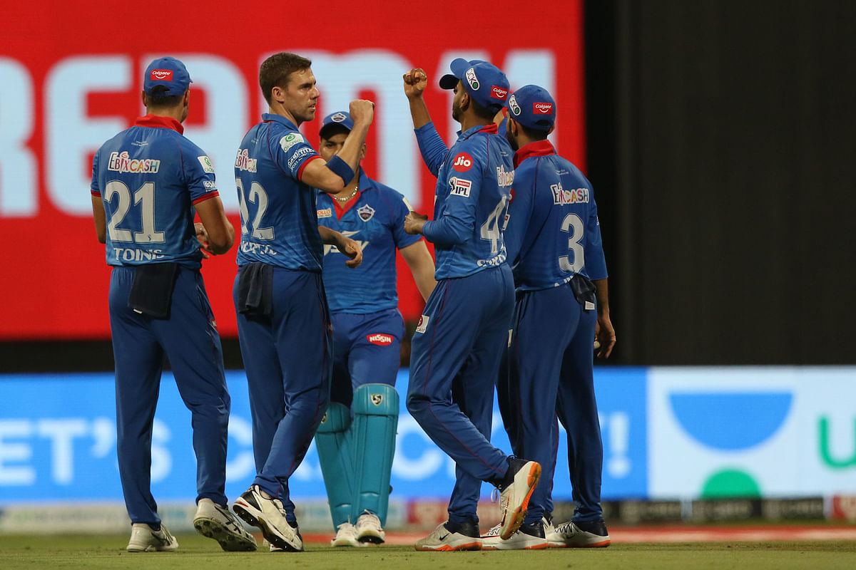 Anrich Nortje of Delhi Capitals celebrating the wicket of Devdutt Padikkal of the Royal Challengers Bangalore during their match in the Indian Premier League (IPL) in Abu Dhabi, on November 2, 2020.