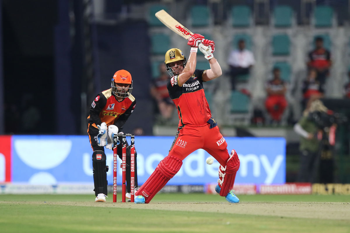 AB de Villiers of Royal Challengers Bangalore playing a shot during the eliminator match of Season 13 of the Dream 11 Indian Premier League (IPL) with Sunrisers Hyderabad at the Sheikh Zayed Stadium in Abu Dhabi on November 6, 2020.