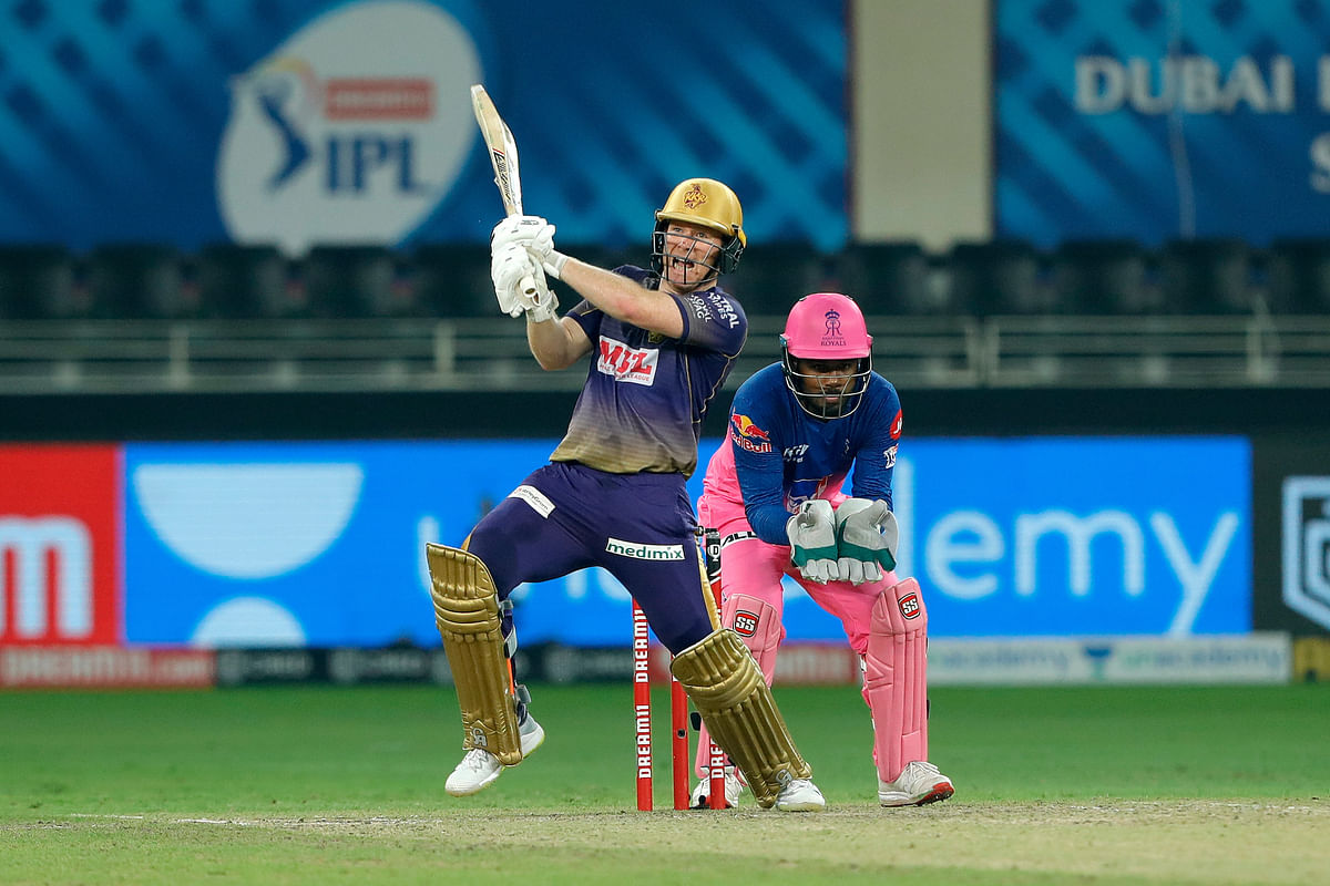 Eoin Morgan, captain of Kolkata Knight Riders, striking a six during their match against Rajasthan Royals in the Indian Premier League (IPL) in Dubai, on November 1, 2020.
